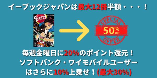 イーブックジャパンの鬼滅の刃販売価格説明図