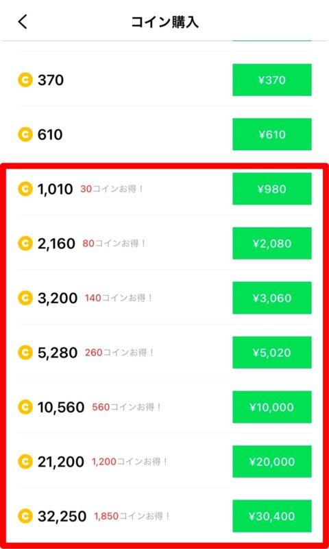 ラインマンガのコイン価格表